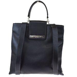 BVLGARI Logo Back Pack Bag Canvas Leather Black Si